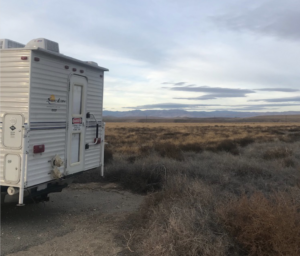 the camper in the cool morning